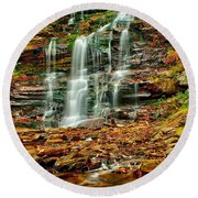 Below Ganoga Falls Round Beach Towel