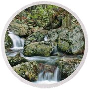 Below Mina Sauk Falls 1 Round Beach Towel