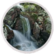 Below Mina Sauk Falls 4 On Taum Sauk Mountain Round Beach Towel