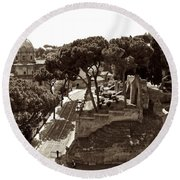 Below The Capitoline Hill Round Beach Towel