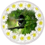 Belted Kingfisher In The Midst Round Beach Towel