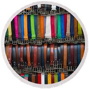 Belts Galore Round Beach Towel