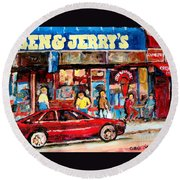 Ben And Jerrys Ice Cream Parlor Round Beach Towel