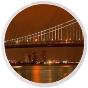 Ben Franklin Bridge Giant Panorama Round Beach Towel