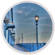 Ben Franklin Bridge Walkway Round Beach Towel