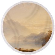 Ben Venue And The Trossachs Seen From Loch Achray Round Beach Towel