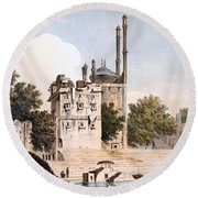 Benares On The Ganges Round Beach Towel by William Hodges