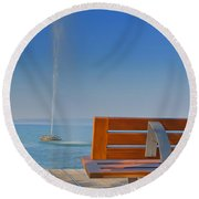 Bench And Fountain  Round Beach Towel
