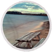 Bench And Table  Round Beach Towel
