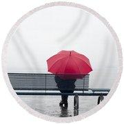 Bench And Umbrella Round Beach Towel