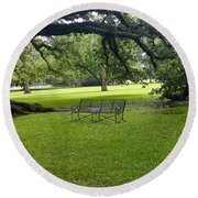 Bench At Oak Alley Plantation Round Beach Towel