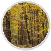 Bench In Fall Color Round Beach Towel