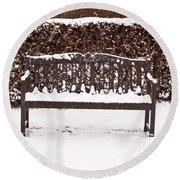 Bench In The Snow Round Beach Towel