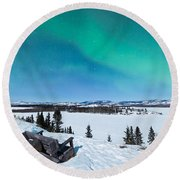Bench Looking On Lake Laberge With Northern Lights Round Beach Towel
