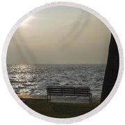 Bench On A Foggy Lake Front Round Beach Towel