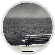 Bench On The Winter Shore Round Beach Towel
