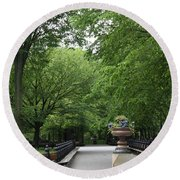 Bench Rows In Central Park  Nyc Round Beach Towel