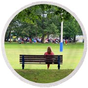 Bench Thoughts Round Beach Towel