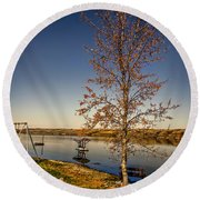 Lonely Friends - Bench And Tree Round Beach Towel