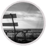 Bench With A View Round Beach Towel