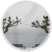 Benches And A Trees Round Beach Towel