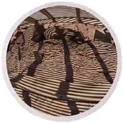 Benches At Meteor Crater In Arizona Round Beach Towel