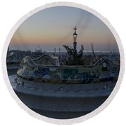 Benches At Parc Guell Round Beach Towel