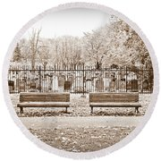 Benches By The Cemetery In Sepia Round Beach Towel