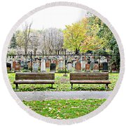 Benches By The Cemetery Round Beach Towel
