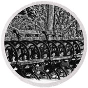 Benches In The Snow - Bw Round Beach Towel