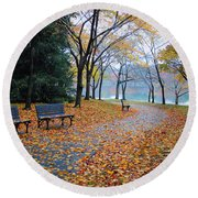 Benches Of Fall Round Beach Towel