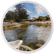 Bend In The Breamish River Round Beach Towel