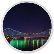 Benjamin Franklin Bridge At Night From Penn's Landing Round Beach Towel