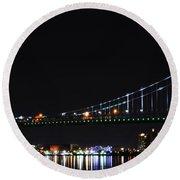 Benjamin Franklin Bridge At Night Panarama Round Beach Towel