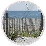 Bent Beach Fence Round Beach Towel