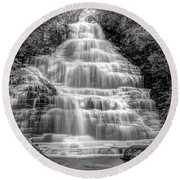 Benton Falls In Black And White Round Beach Towel