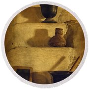 Bent's Old Fort Kitchen Fireplace Round Beach Towel