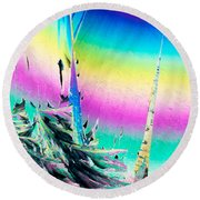 Benzoic Acid Microcrystals Coloful Abstract Art Round Beach Towel