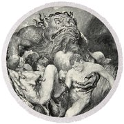 Beowulf Print Round Beach Towel by John Henry Frederick Bacon