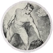 Beowulf Shears Off The Head Of Grendel Round Beach Towel by John Henry Frederick Bacon