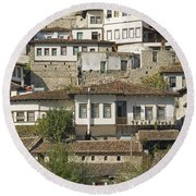 Berat Old Town In Albania Round Beach Towel