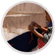 Berber Girl Working On Traditional Berber Rug Ait Benhaddou Southern Morocco Round Beach Towel