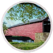 Berks Courty Pa - Griesemer's Covered Bridge Round Beach Towel