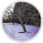 Berkshires Winter 2 - Massachusetts Round Beach Towel
