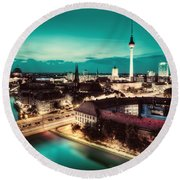 Berlin Germany Major Landmarks At Night Round Beach Towel