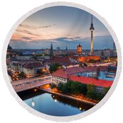 Berlin Germany Major Landmarks At Sunset Round Beach Towel
