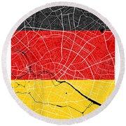 Berlin Street Map - Berlin Germany Road Map Art On German Flag Background Round Beach Towel