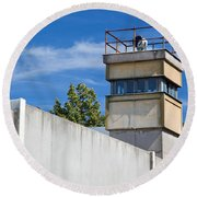 Berlin Wall Memorial A Watchtower In The Inner Area Round Beach Towel