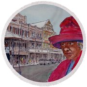 Bermuda Lady In Red And Cop Round Beach Towel