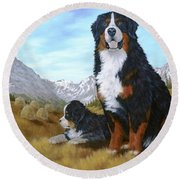 Bernese Mountain Dog Round Beach Towel